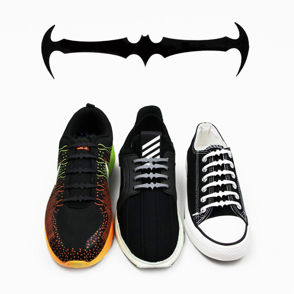 No Tie Shoe Laces for Kids Adults Bat Shape Silicone Rubber Tieless Elastic Slip Sneaker Shoelaces for Boots Board Shoes Casual Shoes