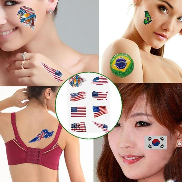 Russia 2018 World Cup National Flag Tattoo Sticker Football Game Face Decor Dropship MAR13