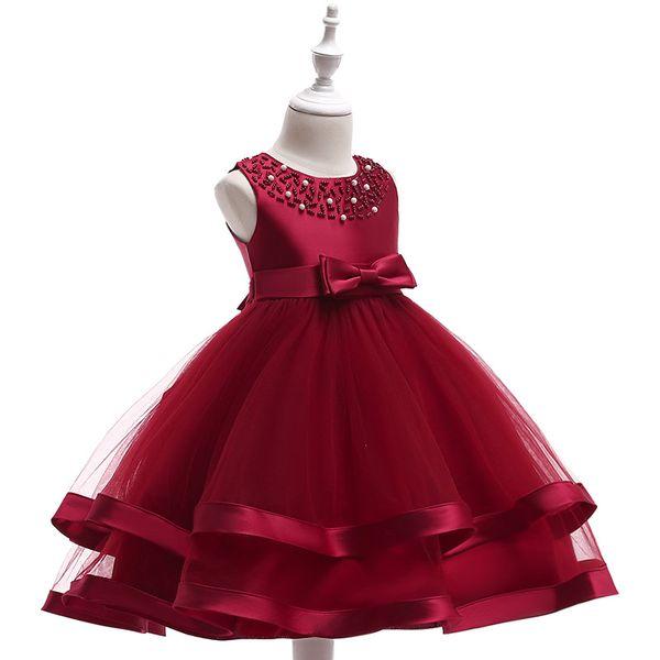 Flower Girls Dresses Sheer Jewel Neck Kids Knee Length Beading Tulle Girl Pageant Gowns Birthday Dresses