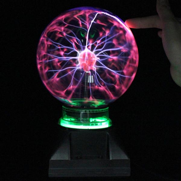 T.Y.S Novelty 3 inch USB Magic Plasma Ball Black Base Glass Plasma Lighting Ball Chrismas Birthday Gift Kids Night Light Lamp