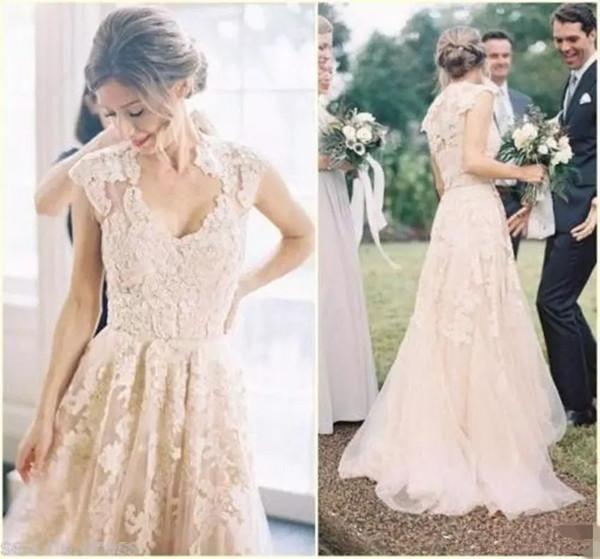 Counrty Lace Wedding Dresses A Line Scoop Neck Cape Sleeves Plus Size Wedding Bridal Gowns Back Zipper Hot Sale robe de mariée