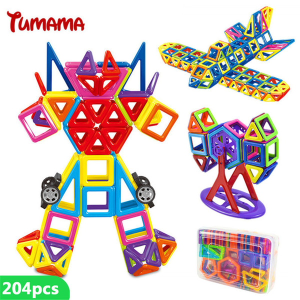 204 Pcs Mini Magnetic Building Blocks Construction Designers Enlighten Assembly Toy Kids Educational DIY Bricks With Box