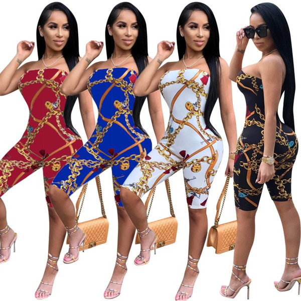 Print Women Strapless Jumpsuits Summer Rompers Plus Size Women Clothing One-Piece Designer Sexy Night Club Girl Overalls Bodysuit