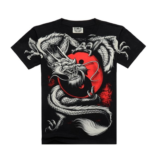 Rocksir 2015 Hot sale China Tai chi dragon Black Printing T-shirt fashion design black sleeve for men all size free shipping