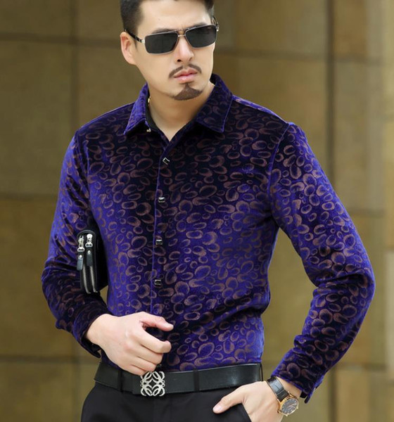 New Mens Velours seda Shirts Formal Dress Shirt Slim Fit alta qualidade shirt floral M-3XL Drop Shipping