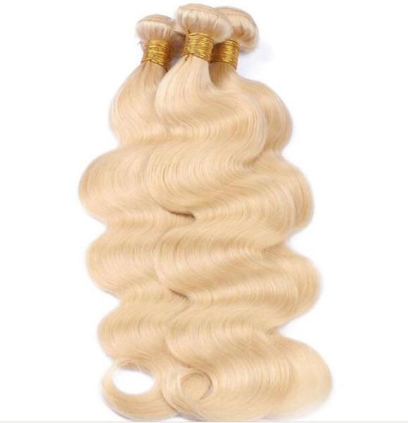 9A 613 Loira Do Cabelo Humano 3/4 Pcs Muito Loira Onda Do Corpo Em Linha Reta Tecer Cabelo Humano Não Transformados Virgem 613 Cor Feixes de cabelo