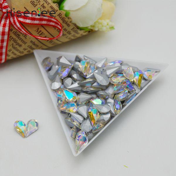 High quality 5x8MM 100PCS charm transparent crystal glass AB color dazzling drop-shaped rhinestone DIY nail art decoration