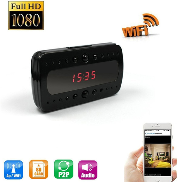 32GB 1080P HD WiFi Clock Camera Alarm Clock Motion Activated DVR Wireless Security Camera Nanny Cam App Real-Time Video Viewing Baby Monitor