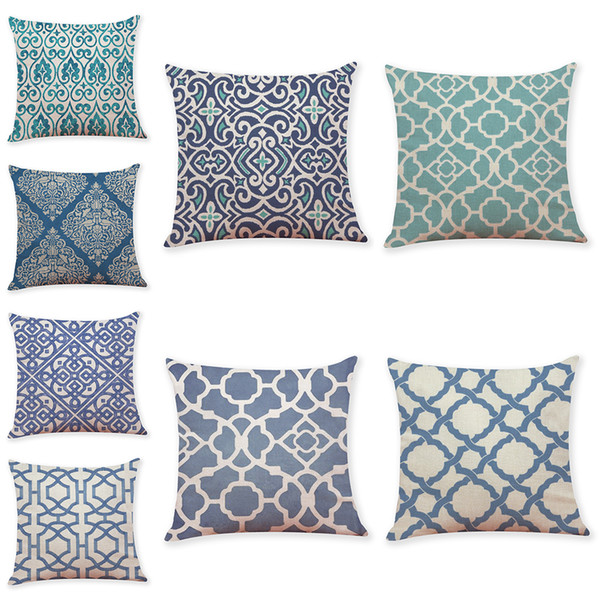 Chinese Geometric Pattern Linen Cushion Covers Home Office Sofa Square Pillow Case Decorative Pillow Covers Without Insert (18*18Inch)