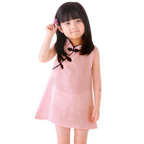 Çin Tarzı Bebek Kız Elbise Katı Renk Vintage Cheongsam Çocuklar Pamuk Keten Kolsuz Elbiseler Çocuk Giyim Parti Kostüm