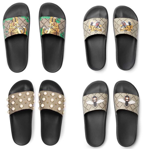 Erkek Kadın Sandalet Tasarımcı Ayakkabı Moda erkekler kadınlar için slayt sandalet terlik Tasarımcı çiçek baskılı unisex plaj flip flop terlik Kaplan