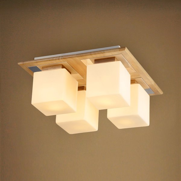 Nodic Rectangle Wood Suspension Luminaire Lights Surface Mounted Ceiling Lights For Foyer/Study/Bed Room 1-9 head 220V X133