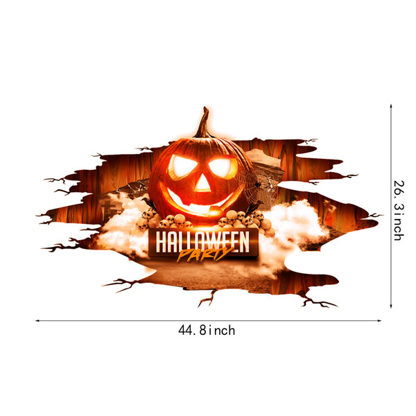 2018 NEW PVC Halloween Decoration 3D Ghost Wall Decals Wall Art Mural Decor Removable Scary Wall Stickers