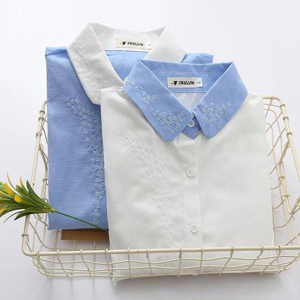 fresco arte bordados blusa de manga longa blusa outono 2018 mori menina