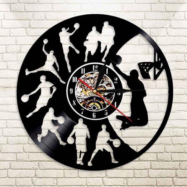 Basket-ball Horloge Murale Led Éclairage Horloges Sourdine Design Moderne Décoratif Garçons Chambre Sport Thème Vinyle Mur Watch Watch Art Décor À La Maison