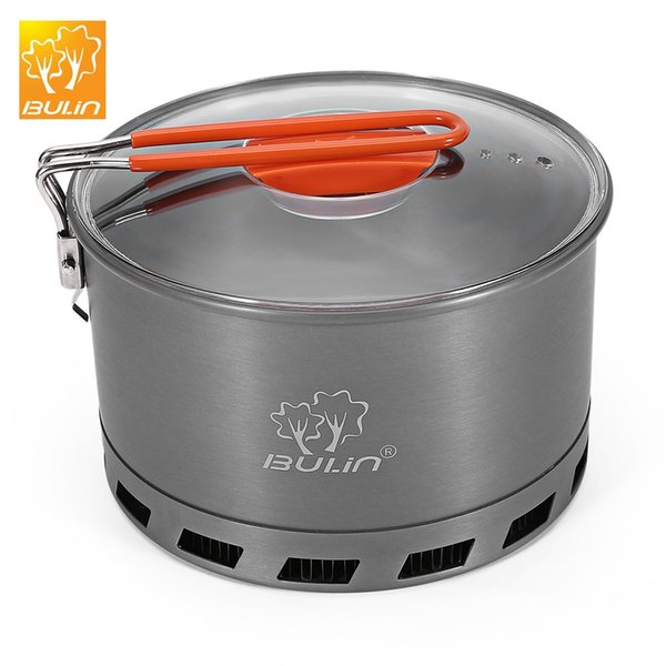 Bulin 2.4L Camping Heat Exchanger Pot Outdoor Portable Cookware Picnic Quick Heating Kettle Folding Handle Pot 2-3 Person