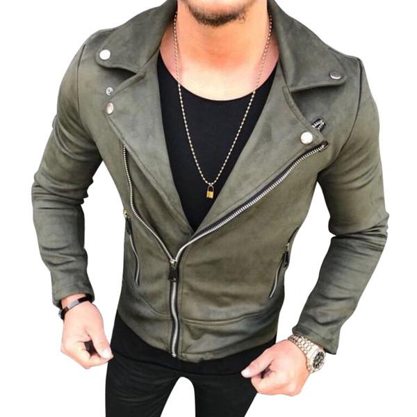 Men Suede Leather Jacket Fashion Lapel Zipper Slim Biker Jackets Streetwear Male Hip Hop Coats Outwear Mens Clothes 2018 Casacos