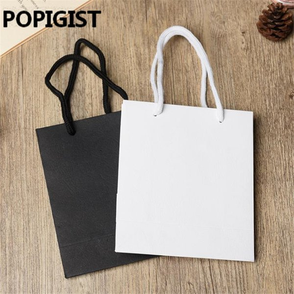 24pcs White Black High Quality Simple Paper Gift Bag Kraft Paper Candy Box With Handle Wedding Birthday Party Gift Package