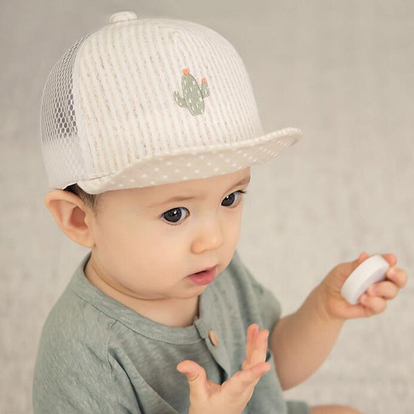 2018 Fashion Baby Baseball Caps Summer Autumn Baby Hats Children Infant Head Breathable Cotton Bebe\'s Kids Stripe Caps z1