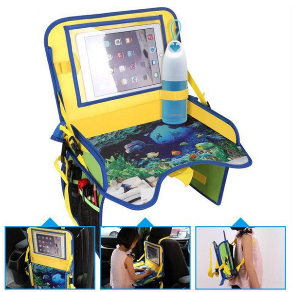 Kids Travel Tray -4 in 1 Car&Plane Seat Tray,Backseat Storage and Car Toy Organizer, Carry Bag and Tablet Holder Snack Tray