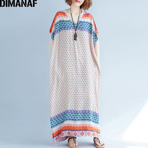 d70a00c0488 DIMANAF Women Summer Dress Big Size Sundress Cotton Print Femme Lady  Elegant Vestido Loose Casual Large