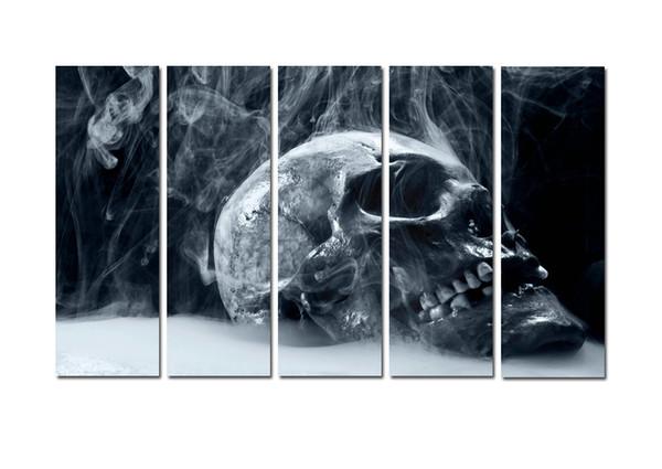Большая Современная Печать Печати Курящих Черепов Картина Холст Печати Wall Art Home 5 Шт Wall Art для Гостиной Спальни Home Office Decor