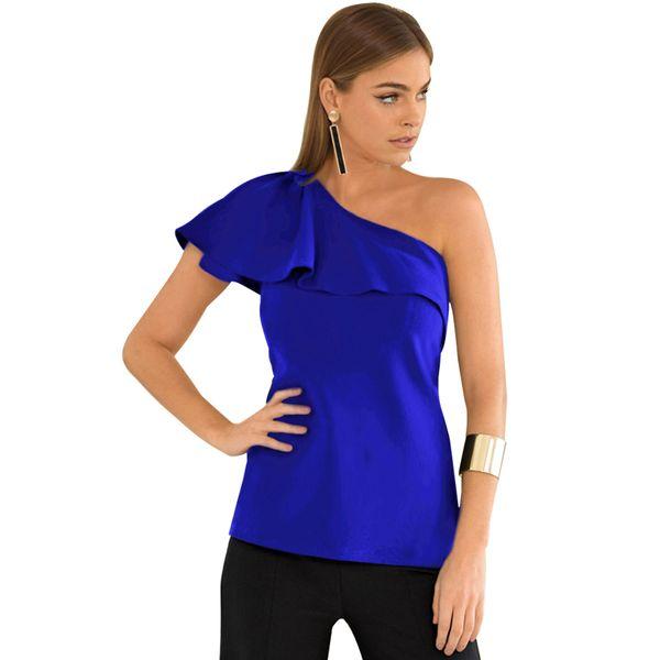 2019 New Sexy Women One Shoulder T-shirt Ruffles Elegant Ladies Summer Tops 2019 Solid Color Slim Tee Shirt Tops Black/Red/Blue