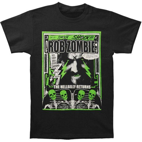 Online T Shirt Printing Print Rob Zombie Men's Hellbilly Returns T-shirt Black Crew Neck Short-Sleeve Tee For Men