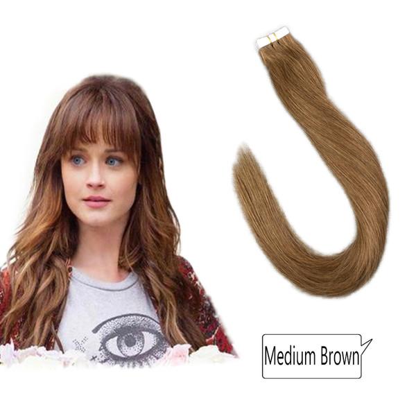 Klebeband in Remy Human Hair Extensions kann einfach gestreckt, gekräuselt, gefärbt, gebleicht und gestylt werden.