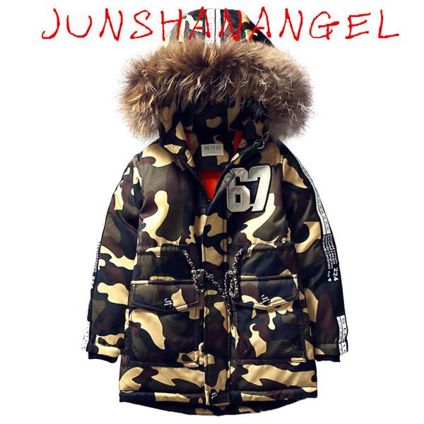Großhandel 2018 Jungen Daunenparka Jacken Winterjacke Für Jungen Kinder Windjacke Parka Mantel Russisch Für Jungen Kapuzen Camouflage Jacke Von