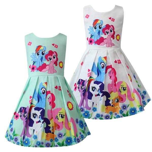 Ins 3 colori Baby Girls Cartoon Unicorn stampato Vest Vest Bambini Cute Princess Dress Halloween Natale Bambini costumi cosplay Abbigliamento