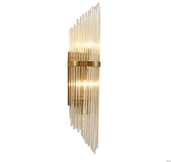 Luxury k9 crystal decorative wall lamp villa bedroom bedside aisle bathrooom wall light e14 led bulb light source glass lamp LLFA