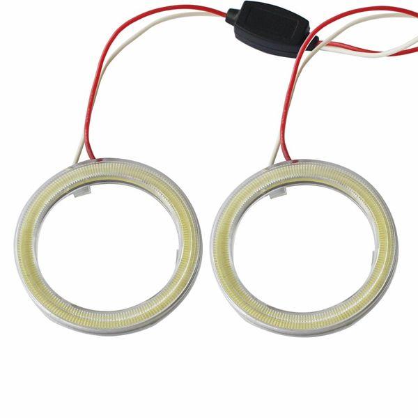 2 pieces Halo Rings Angel Eye car Headlight COB 60/70/80/90/100/110/120 mm Lampshades Bright auto drl Angel Eyes Motorcycle 12v