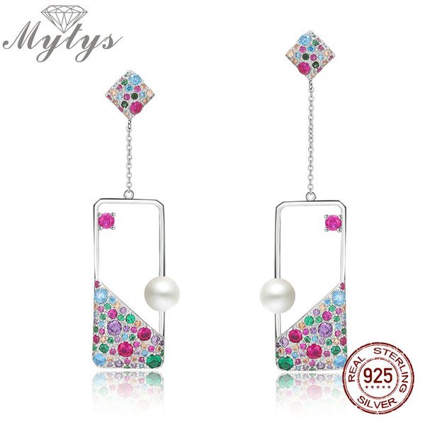 wholesale 925 Sterling Silver Earrings Freshwater Pearl Adorned Square Dangle Earrings Colorful CZ Setting High Level jewelry CE406