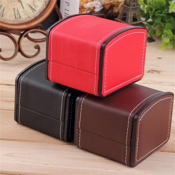 Caixas de Relógio de luxo Durável PU Leather Watch Cases Pulseira Pulseira Jóias Relógio De Pulso Caixa de Exibição Caixa Com Travesseiro