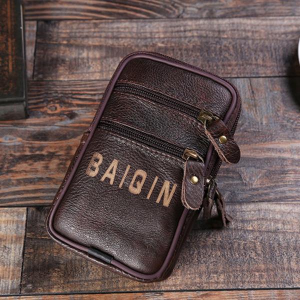 by dhl or ems 200pcs fashion Men waist bag Men Multifunction bags Black leather chest pack quality bag
