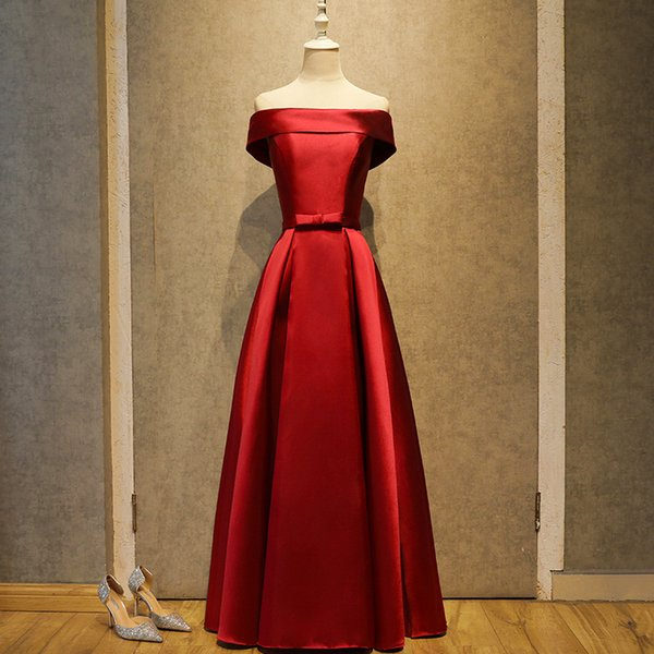 2017 Hot Sale Cheap In Stock A line Prom Dresses Scoop Sheer Neck Lace up back Red Robe de Soiree off shoulder Evening Party Gown