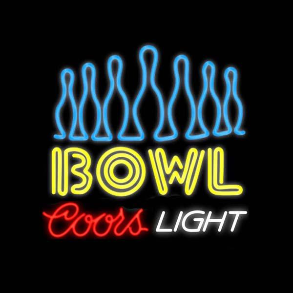 """Coors Light Ten Pin Bowling Neon Sign Custom Handmade Real Glass Tube Sport Game Club Advertisement Display Neon Signs 24""""X24"""""""