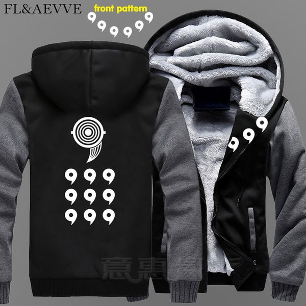 FL&AEVVE New Uzumaki Naruto Hoodie Anime Uchiha Sasuke Coat Jacket Winter Men Thick Zipper Ootutuki Hagoromo Sweatshirt