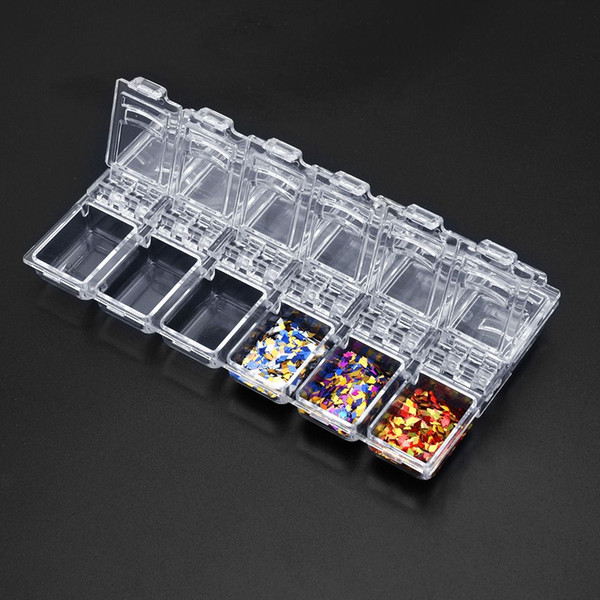 top popular Nail Art Storage 12 Slots Compartment Acrylic Nail Glitter Decorations Storage Box Earring Jewelry Bin Case Container Sewing Box 2020