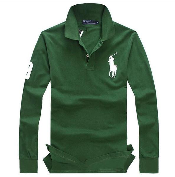 Envío gratis 2019 otoño e invierno nuevos hombres de alta calidad moda POLO de manga larga camisa de POLO de los hombres ocasionales mangas largas tamaño S-XXL