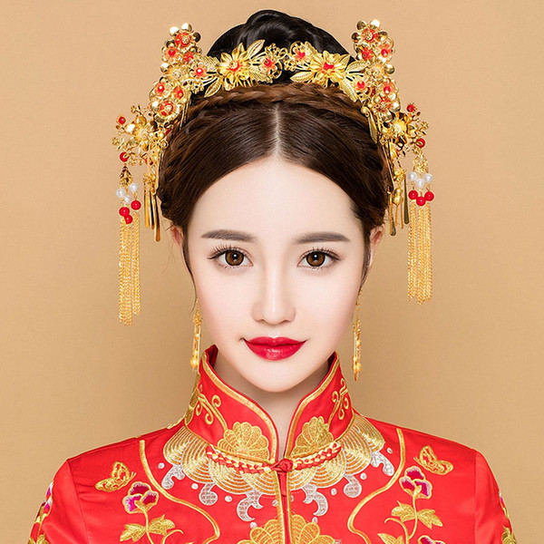 Color oro pelo antiguo conjunto de joyas Estilo chino tocado de la princesa tocado nupcial borla Step Shakes ornamento Vintage Hairwear