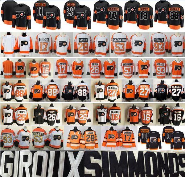 Philadelphia Flyers 28 Claude Giroux Forması 17 Wayne Simmonds Shayne Gostisbehere Voracek Patrick Bobby Clarke Eric Lindros Travis Konecny