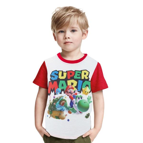 Niños Super Mario Printing Clothes Boy Girl Cartoon Mario Brother Camiseta Niños Cotton T-Shirt Baby Tshirt Summer Tee Tops
