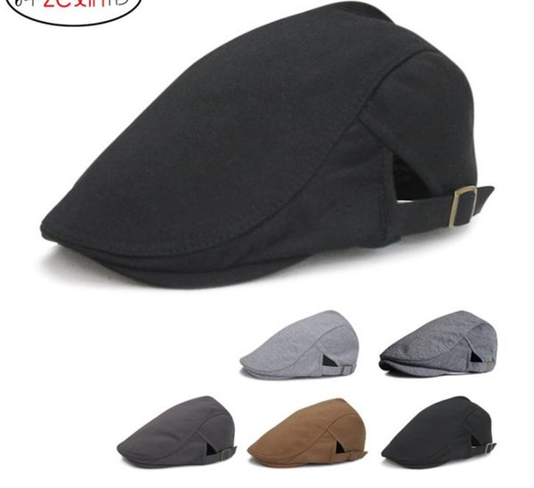 Cotton Newsboy Beret Caps For Men Fashion Otoño Invierno al aire libre Sun Bone Brim Hats Mujeres Mens Herringbone Solid Boinas planas Cap Hat