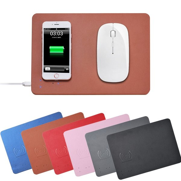 Qi Wireless Charger Mouse Pad Mat Multi-function PU Leather Mouse Mat for iPhone 8 Plus iPhone X