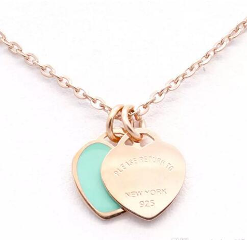 Christmas gift Stainless Steel Chain Heart Love Necklaces women tif necklace Fashion Trendy Paired Suspension Pendants Model with dust bag