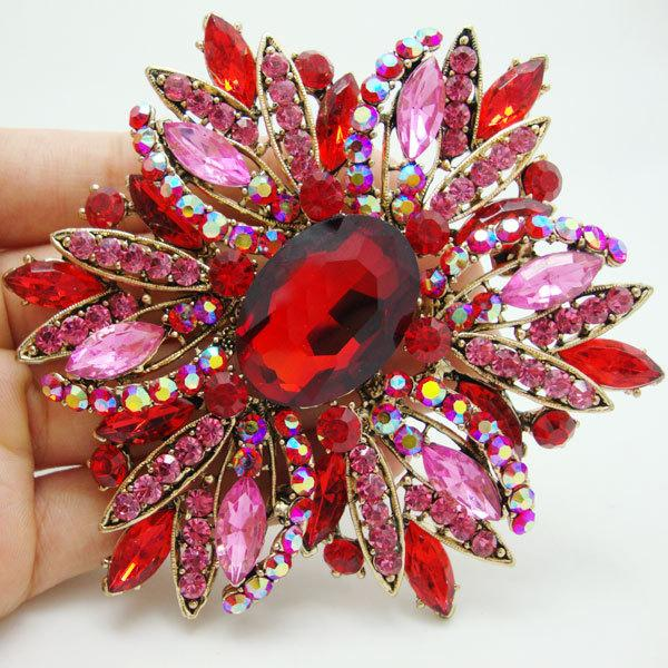 brooches Vintage Elegant Flower Gold Tone Brooch Pin Red Rhinestone Crystal Free Shipping large brooch pins