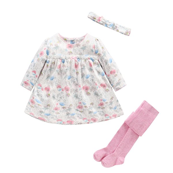 Baby Girl Clothes Set Newborn Girl Baby Dress+ Headband+Pantyhose 3pcs Sets Baby Floral Clothing for Gift Sets Infant Outfit