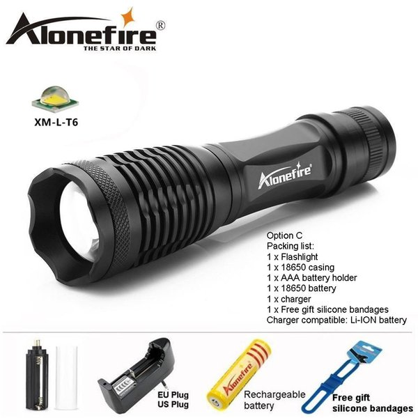 AloneFire E007 Lanterna Adjustable Tactical Zoom Flashlight CREE XML-T6 LED Bicycle Torch 18650 Lithium Battery for Riding Lighting